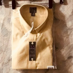 NWT Jos A Banks gold travelers twill shirt 17-35